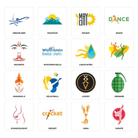 Set Of 16 simple editable icons such as karate, anka, cricket, gynaecologist, grenade, dreamliner, anjaneya, hanuman ji, liquid nitro can be used for mobile, web UI