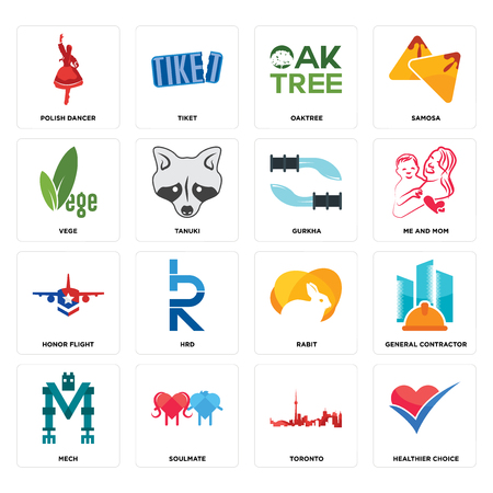 Set Of 16 simple editable icons such as healthier choice, toronto, soulmate, mech, general contractor, polish dancer, vege, honor flight, gurkha can be used for mobile, web UI