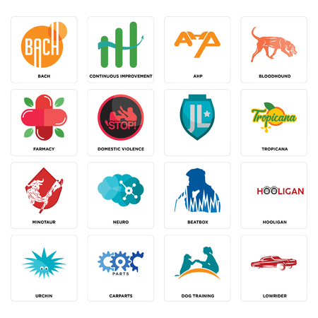 Set Of 16 simple editable icons such as lowrider, dog training, carparts, urchin, hooligan, bach, farmacy, minotaur, can be used for mobile, web UI Illustration