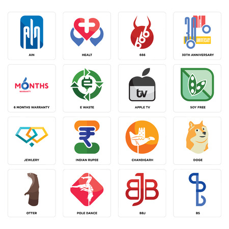Set Of 16 simple editable icons such as bs, bbj, pole dance, otter, doge, ain, 6 months warranty, jewlery, apple tv can be used for mobile, web UI Illustration