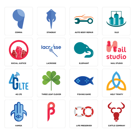 Set Of 16 simple editable icons such as cattle company, life preserver, , hamsa, holy trinity, comma, social justice, 4g lte, elephant can be used for mobile, web UI