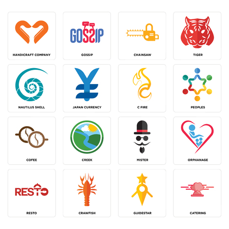 Set Of 16 simple editable icons such as catering, guidestar, crawfish, resto, orphanage, handicraft company, nautilus shell, cofee, c fire can be used for mobile, web UI