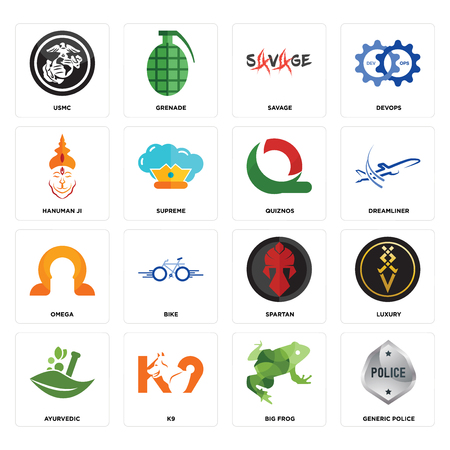 Set Of 16 simple editable icons such as generic police, big frog, k9, ayurvedic, luxury, usmc, hanuman ji, omega, quiznos can be used for mobile, web UI Illustration