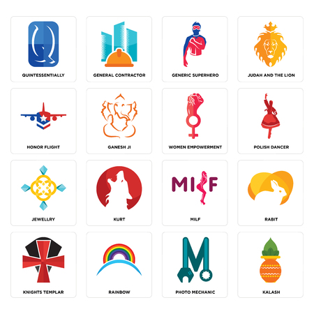 Set Of 16 simple editable icons such as kalash, photo mechanic, rainbow, knights templar, rabit, quintessentially, honor flight, jewellry, women empowerment can be used for mobile, web UI
