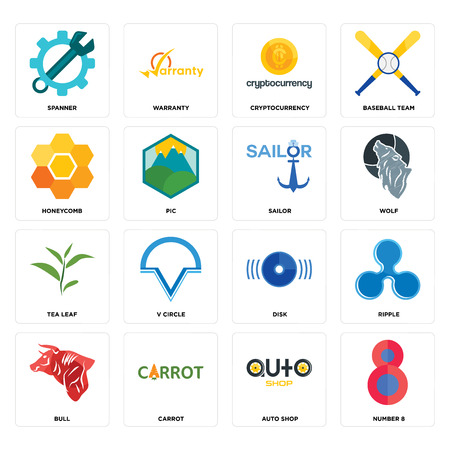 Set Of 16 simple editable icons such as number 8, auto shop, carrot, bull, ripple, spanner, honeycomb, tea leaf, sailor can be used for mobile, web UI