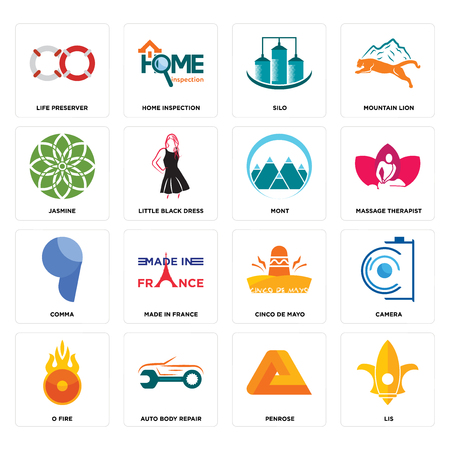 Set Of 16 simple editable icons such as lis, penrose, auto body repair, o fire, camera, life preserver, jasmine, comma, mont can be used for mobile, web UI