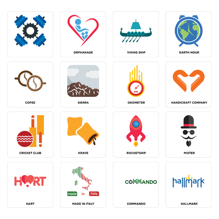 Set Of 16 simple editable icons such as hallmark, commando, made in italy, hart, mister, , cofee, cricket club, odometer can be used for mobile, web UI Stock Illustratie