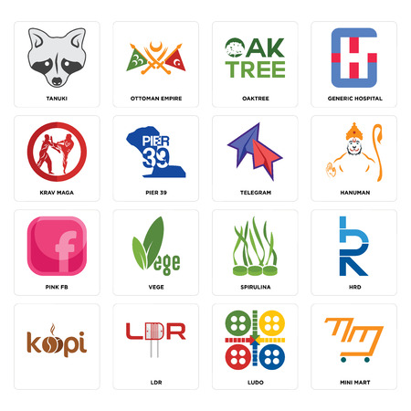 Set Of 16 simple editable icons such as mini mart, ludo, ldr, , hrd, tanuki, krav maga, pink fb, telegram can be used for mobile, web UI Illustration