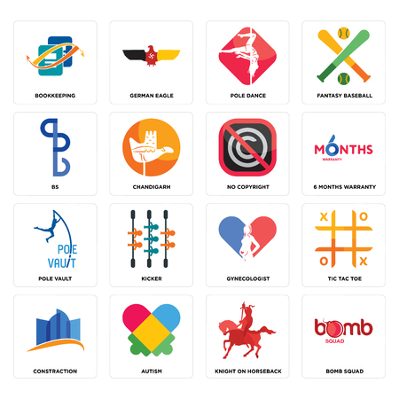 Set Of 16 simple editable icons such as bomb squad, knight on horseback, autism, constraction, tic tac toe, bookkeeping, bs, pole vault, no copyright can be used for mobile, web UI