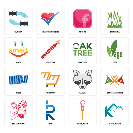 Set Of 16 simple editable icons such as k mountain, resturent, hrd, me and mom, ottoman empire, gurkha, smail, tiket, oaktree can be used for mobile, web UI