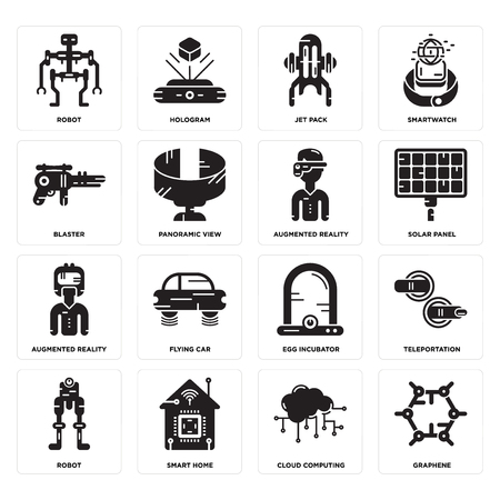 Set Of 16 simple editable icons such as Graphene, Cloud computing, Smart home, Robot, Teleportation, Blaster, Augmented reality, reality can be used for mobile, web UI