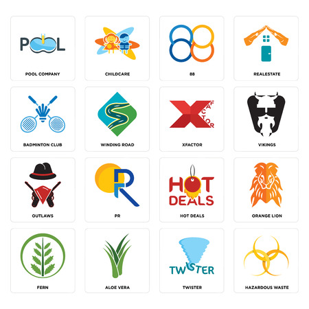 Set Of 16 simple editable icons such as hazardous waste, twister, aloe vera, fern, orange lion, pool company, badminton club, outlaws, xfactor can be used for mobile, web UI