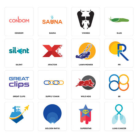 Set Of 16 simple editable icons such as lung cancer, superstar, golden ratio, , 88, condom, silent, great clips, lawn mower can be used for mobile, web UI Zdjęcie Seryjne - 102548919