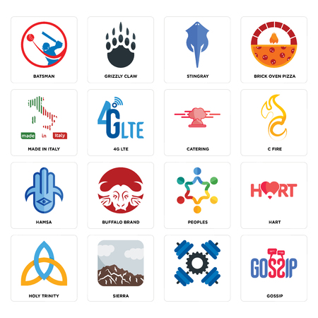 Set Of 16 simple editable icons such as gossip, , sierra, holy trinity, hart, batsman, made in italy, hamsa, catering can be used for mobile, web UI Stock Illustratie