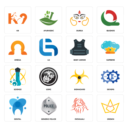 Set Of 16 simple editable icons such as crown, patanjali, generic police, dental, devops, k9, omega, science, body armor can be used for mobile, web UI