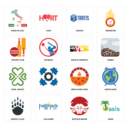 Set Of 16 simple editable icons such as oasis, buffalo brand, hallmark, grizzly claw, earth hour, made in italy, cricket club, four  hearts, germany can be used for mobile, web UI