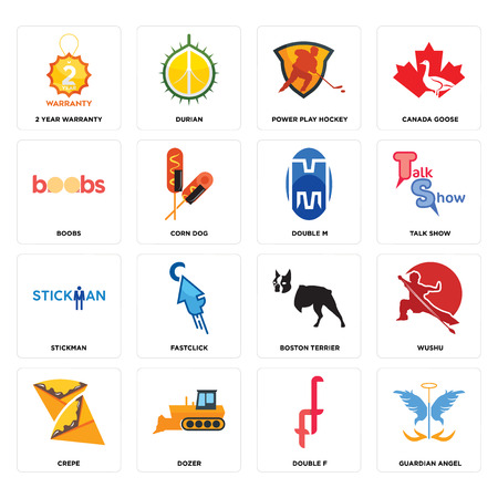 Set Of 16 simple editable icons such as guardian angel, double f, dozer, crepe, wushu, 2 year warranty, boobs, stickman, m can be used for mobile, web UI Banque d'images - 102627862
