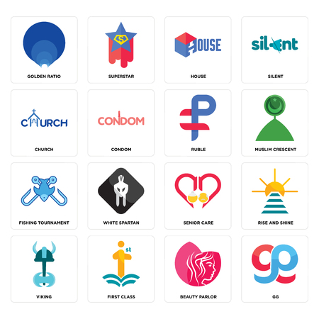 Set Of 16 simple editable icons such as gg, beauty parlor, first class, viking, rise and shine, golden ratio, church, fishing tournament, ruble can be used for mobile, web UI