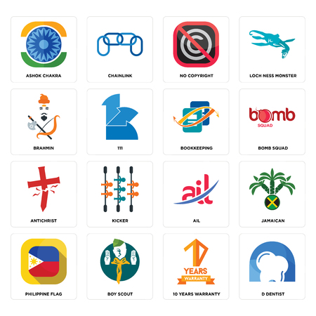 Set Of 16 simple editable icons such as d dentist, 10 years warranty, boy scout, philippine flag, jamaican, ashok chakra, brahmin, antichrist, bookkeeping can be used for mobile, web UI