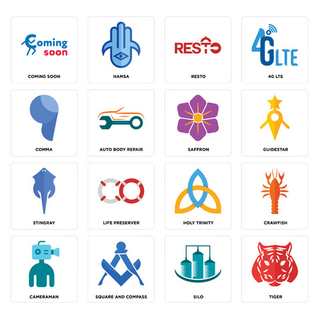 Set Of 16 simple editable icons such as tiger, silo, square and compass, cameraman, crawfish, coming soon, comma, stingray, saffron can be used for mobile, web UI