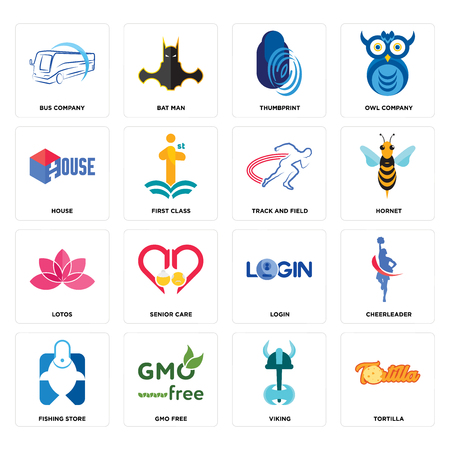 Set Of 16 simple editable icons such as tortilla, viking, gmo free, fishing store, cheerleader, bus company, house, lotos, track and field can be used for mobile, web UI