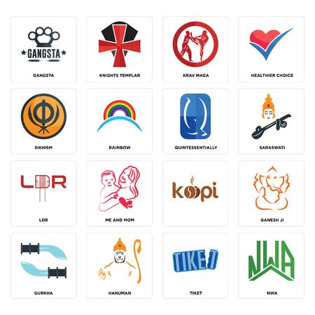 Set Of 16 simple editable icons such as nwa, tiket, hanuman, gurkha, ganesh ji, gangsta, sikhism, ldr, quintessentially can be used for mobile, web UI Illustration