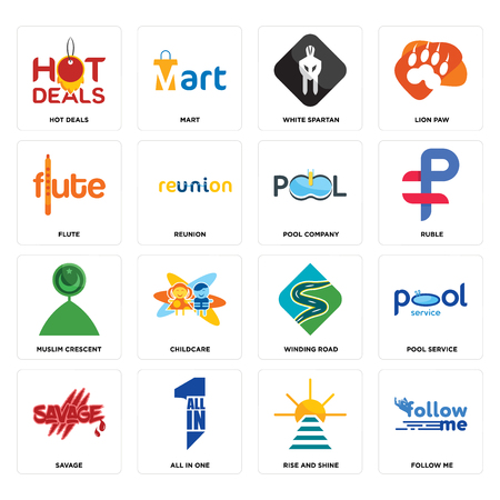 Set Of 16 simple editable icons such as follow me, rise and shine, all in one, savage, pool service, hot deals, flute, muslim crescent, company can be used for mobile, web UI