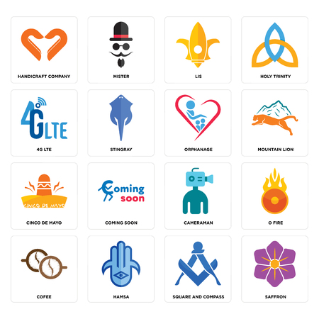 Set Of 16 simple editable icons such as saffron, square and compass, hamsa, cofee, o fire, handicraft company, 4g lte, cinco de mayo, orphanage can be used for mobile, web UI Foto de archivo - 102632990