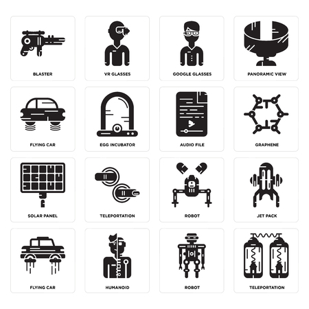 Set Of 16 simple editable icons such as Teleportation, Robot, Humanoid, Flying car, Jet pack, Blaster, Solar panel, Audio file can be used for mobile, web UI