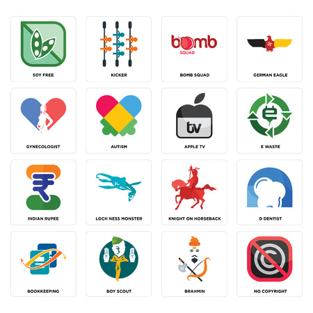 Set Of 16 simple editable icons such as no copyright, brahmin, boy scout, bookkeeping, d dentist, soy free, gynecologist, indian rupee, apple tv can be used for mobile, web UI Ilustracja