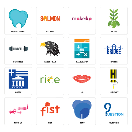 Set Of 16 simple editable icons such as question, dent, fist, make up, highway, dental clinic, dumbbell, greek, calculator can be used for mobile, web UI Ilustração