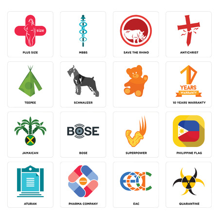 Set Of 16 simple editable icons such as quarantine, eac, pharma company, aturan, philippine flag, plus size, teepee, jamaican, can be used for mobile, web UI