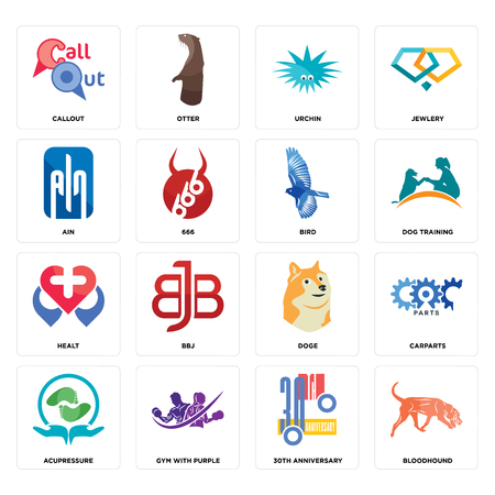 Set Of 16 simple editable icons such as bloodhound, 30th anniversary, gym with purple, acupressure, carparts, callout, ain, healt, bird can be used for mobile, web UI