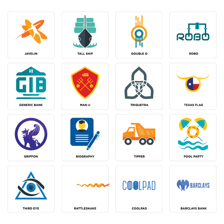 Set Of 16 simple editable icons such as barclays bank, coolpad, rattlesnake, third eye, pool party, javelin, generic griffon, triquetra can be used for mobile, web UI Ilustração