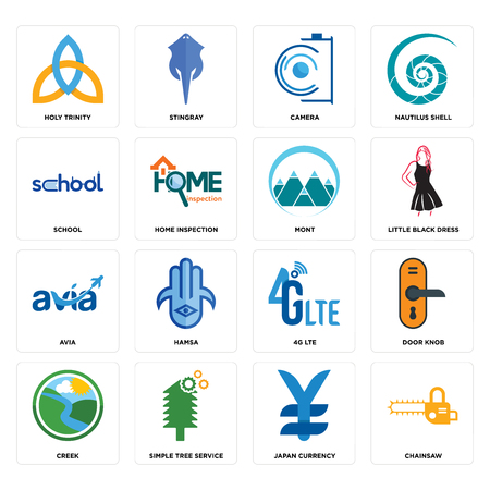 Set Of 16 simple editable icons such as chainsaw, japan currency, tree service, creek, door knob, holy trinity, school, avia, mont can be used for mobile, web UI