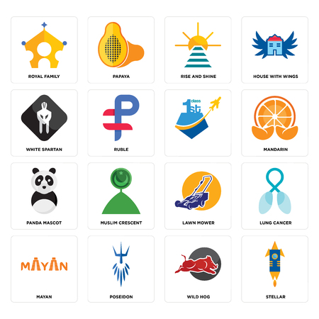 Set Of 16 simple editable icons such as stellar, wild hog, poseidon, mayan, lung cancer, royal family, white spartan, panda mascot, can be used for mobile, web UI Vectores