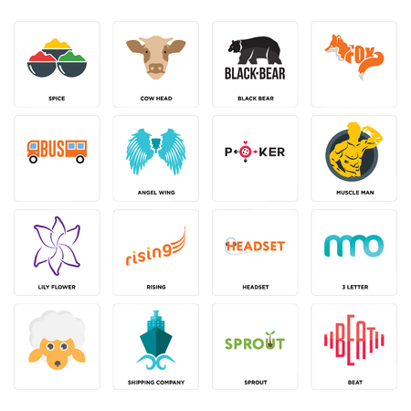 Set Of 16 simple editable icons such as beat, sprout, shipping company, , 3 letter, spice, lily flower, can be used for mobile, web UI Ilustração