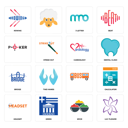 Set Of 16 simple editable icons such as lily flower, spice, greek, headset, calculator, rowing, , bridge, cardiology can be used for mobile, web UI