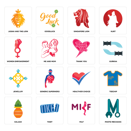 Set Of 16 simple editable icons such as photo mechanic, milf, tiket, kalash, teechip, judah and the lion, women empowerment, jewellry, thank you can be used for mobile, web UI Çizim