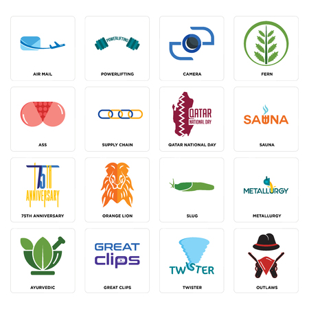 Set Of 16 simple editable icons such as outlaws, twister, great clips, ayurvedic, metallurgy, air mail, ass, 75th anniversary, qatar national day can be used for mobile, web UI