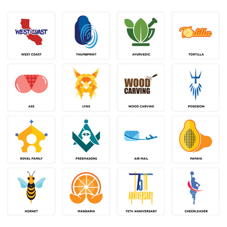 Set Of 16 simple editable icons such as cheerleader, 75th anniversary, mandarin, hornet, papaya, west coast, ass, royal family, wood carving can be used for mobile, web UI