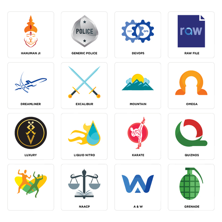 Set Of 16 simple editable icons such as grenade, a & w, naacp, , quiznos, hanuman ji, dreamliner, luxury, mountain can be used for mobile, web UI