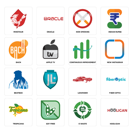 Set Of 16 simple editable icons such as hooligan, e waste, soy free, tropicana, fiber optic, minotaur, bach, beatbox, continuous improvement can be used for mobile, web UI Ilustração