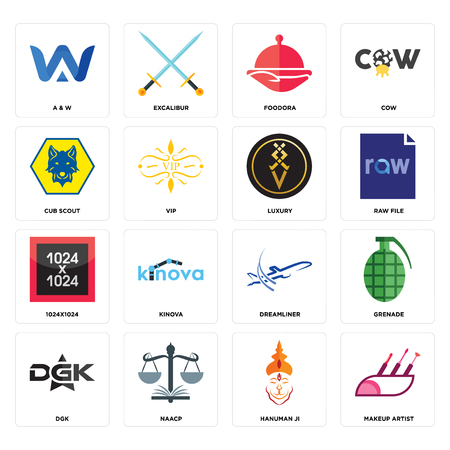 Set Of 16 simple editable icons such as makeup artist, hanuman ji, naacp, dgk, grenade, a & w, cub scout, 1024x1024, luxury can be used for mobile, web UI