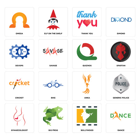 Set Of 16 simple editable icons such as dance, bollywood, big frog, gynaecologist, generic police, omega, devops, cricket, quiznos can be used for mobile, web UI