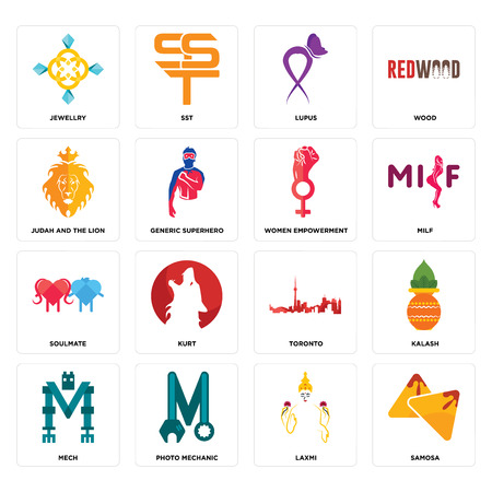 Set Of 16 simple editable icons such as samosa, laxmi, photo mechanic, mech, kalash, jewellry, judah and the lion, soulmate, women empowerment can be used for mobile, web UI Stok Fotoğraf - 102656910