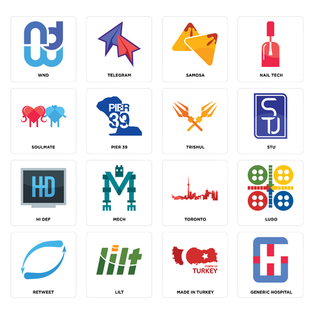 Set Of 16 simple editable icons such as generic hospital, made in turkey, lilt, retweet, ludo, wnd, soulmate, hi def, trishul can be used for mobile, web UI Ilustração