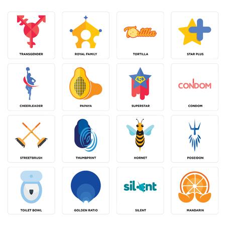 Set Of 16 simple editable icons such as mandarin, silent, golden ratio, toilet bowl, poseidon, transgender, cheerleader, streetbrush, superstar can be used for mobile, web UI Illustration