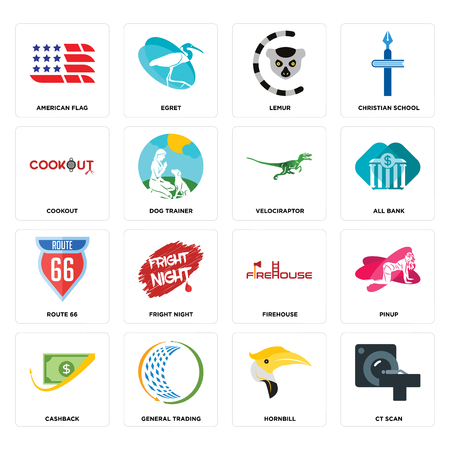 Set Of 16 simple editable icons such as ct scan, hornbill, general trading, cashback, pinup, american flag, cookout, route 66, velociraptor can be used for mobile, web UI