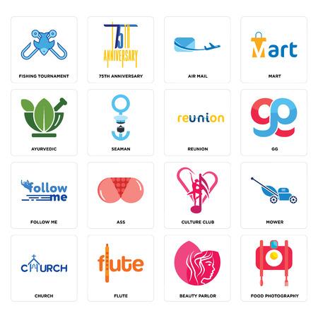 Ensemble de 16 icônes modifiables simples telles que la photographie culinaire, salon de beauté, flûte, église, tondeuse, tournoi de pêche, ayurvédique, suivez-moi, réunion peut être utilisé pour mobile, interface utilisateur Web